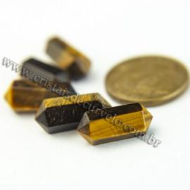 05 Micro Pontinhas Bi Ponta Cristal Olho de Tigre 15mm pra montar joias
