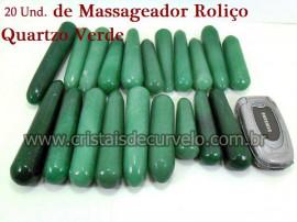 20  Massageador Roliço Quartzo Verde 8 a 12cm Atacado Cod 210182