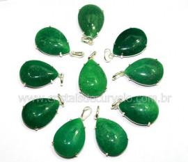 05 Pingente Gota Quartzo Verde Prata 950 Garra REFF GP5994