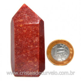 Ponta Quartzo Vermelho Natural Gerador Sextavado Cod 120132