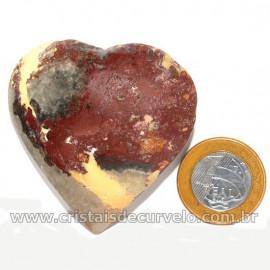 Coração Pedra Quartzo Jiboia Natural Lapidação manual Cod 126879