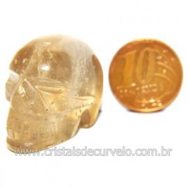 Cranio Citrino Natural Caveira Esculpido Skull Stone 119530