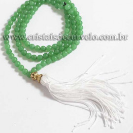 Terço Japamala Pedra Quartzo Verde Natural 108 Contas 6mm