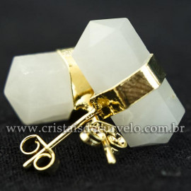 Brinco Micro Bi Ponta Envolto Pedra Quartzo Leitoso Banho Dourado