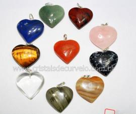 10 Pingente Misto Coraçao Pedras Diversas Montagem Pino Prata 950