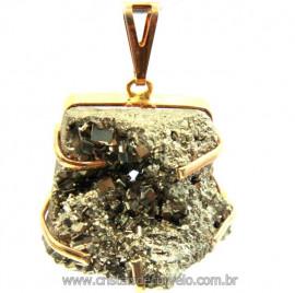 Pingente Drusa Pirita Extra Pedra Natural Montagem Envolto Dourado cod PP4210