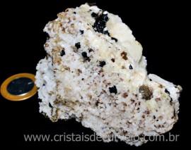 Albita Branca com Turmalina preta e Micas Pedra pra Colecionar Cod 283.6