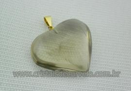 Pingente CORAÇÃO Pedra FUMÊ Natural Montagem Banho Flasch Dourado