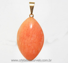 Pingente Navete Amazonita Pêssego Montagem Dourado Reff PN3260