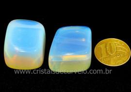 02 Pedra da Lua Opalina Rolado Para Esoterismo Colecionador Reff 34.7
