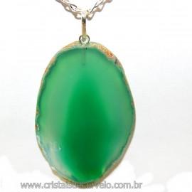 Pingente Chapa de Ágata Verde Pino Prata 950 Reff 106414