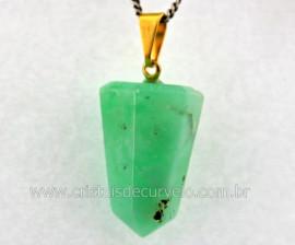 Pingente Pontinha Pedra Crisoprasio Natural Presilha e Pino Dourado
