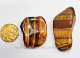 02 Olho de Tigre Rolado Pedra Natural Origem Africa Esoterismo Colecionador Ref 29.5