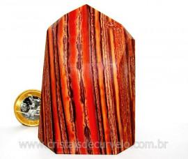 Ponta Jaspe Rajado Lapidado Gerador Pedra Natural Mineral Autentico Cod 256.6