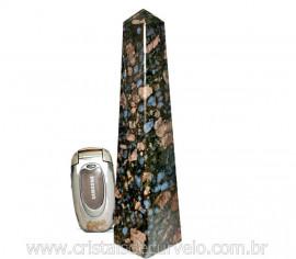 Obelisco de Rocha Vulcanica Riolita Pedra Natural com Lapidação Manual Cod 710.9