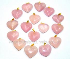 Lembrança de Casamento 100 Corações Pingente Pedra Quartzo Rosa ATACADO