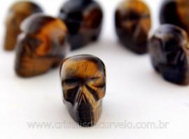 Cranio Não Pingente Pedra OLHO DE TIGRE Esculpido em Pedra Natural Pequeno