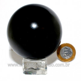Esfera Obsidiana Negra Pedra Lava Vulcanica Natural 126123