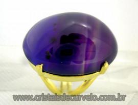 Anel Agata Lilas Cabochão Oval Pedra Natural Montagem Banho Flash Dourado Aro Ajustavel