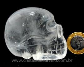 Crânio Quartzo Cristal Pedra Lapidado Artesanal Cod CC4519