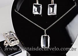 Conjunto colar Gema de Cristal Facetado Prata 950 cod 111579