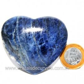 Coração Sodalita Pedra Azul Natural de Garimpo Cod 124101