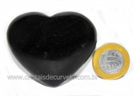 Coração Quartzo Preto Quartzito Negro Pedra Natural Cod CP5269