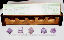 Kit Radionico Cristais Solido de Platao Pedra Ametista natural Multi Facetado REF 257.4