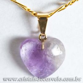 Pingente Mini Coração 15mm Ametista Pedra Natural Dourado