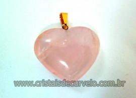 Pingente CORAÇÃO Pedra Quartzo Rosa Natural Montagem Flash Dourado