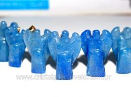 10 Anjinho Pingente Pedra Quartzo Azul Pino Dourado AP6652