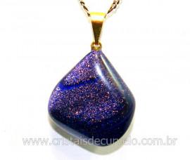 Pingente Pedra Estrela Azul Pedrinha Rolado Montagem com Pino Dourado