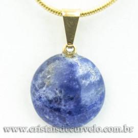 Mini Pingente Disco Sodalita Azul Pedra Natural Pino Dourado