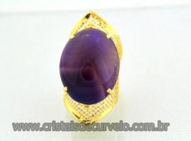 Anel Cabochão Oval Tela Ajustável Agata Lilas Pedra Natural Montagem Dourado