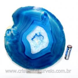Chapa de Agata Azul Porta Frios Bandeja Pedra Natural 123422