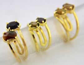 03 Aneis 2 Pedras Mista Gemas Facetado Aro Dourado Ajustavel Cod 55.6