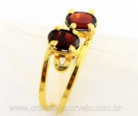 Anel 2 Pedras Granada Gemas Facetado Aro Dourado Ajustavel REF 12.6