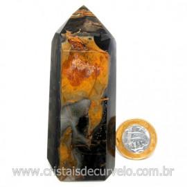 Ponta Onix Preto Pedra Natural Gerador Sextavado Cod 128915