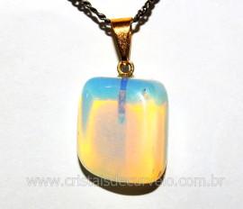 Pingente PEDRA DA LUA OPALINA Pedrinha Rolado Mineral Montagem Dourado
