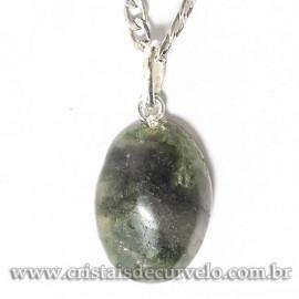 Pingente Cabochão Oval Pedra Epidoto Verde 20mm Pino Prata 950