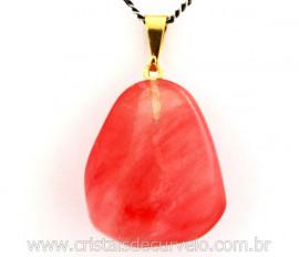 Pingente Pedra Cherry Rosa Pedrinha Rolado Montagem com Pino Dourado