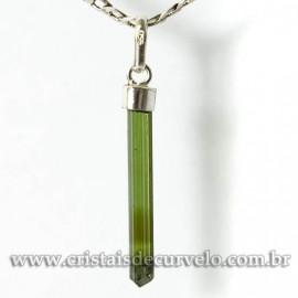 Pingente Canudo TURMALINA VERDE Pedra Bruto Prata 950 Cod 125102