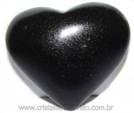 Coraçao Quartzo Preto Quartzito Negro Natural Cod 115342