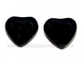 Par Coração Obsidiana Negra Natural Pra Brinco Reff CB8959
