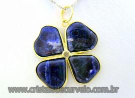 Pingente Trevo Sodalita Azul  Pedra Natural Trevinho da Sorte Montagem Dourado