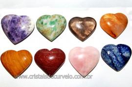 20 Coração Pedras Mista Natural 4.7 a 6.5cm ATACADO