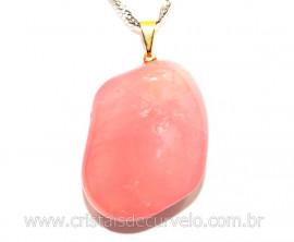 Pingente Pedrinha Quartzo Rosa Extra Natural Dourado PP7887
