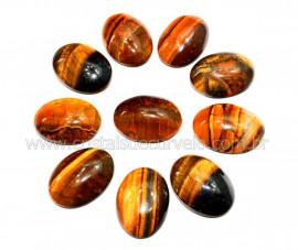 10 Cabochao Oval pra Pingente Pedra Olho de Tigre Lapidado Calibrado 18 x 25 MM