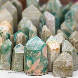 1 kg Pontas Jade Verde Lapidado T Medio Gerador ATACADO