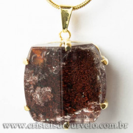 Pingente Pedra Cristal Lodolita Baguette Garra Dourada 112942